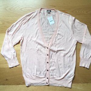 J crew 100% cotton light pink cardigan. Size L